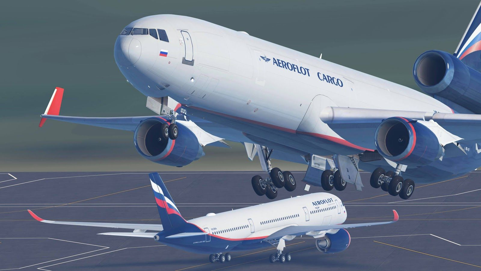 Aeroflot Cargo MD-11F taking off in Infinite Flight
