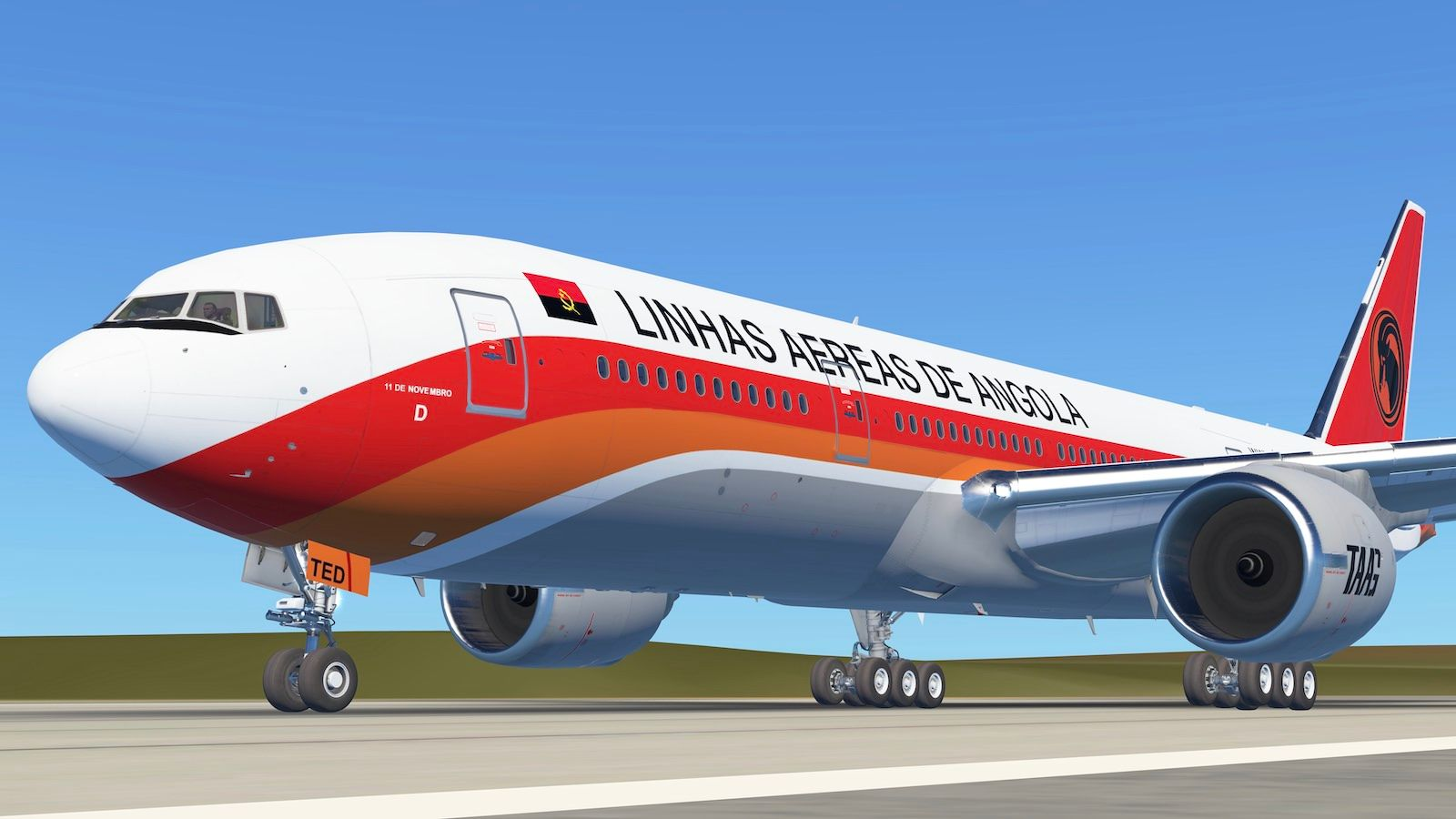 Screenshot of a Taag Angola B772 lining up for departure in Infinite Flight