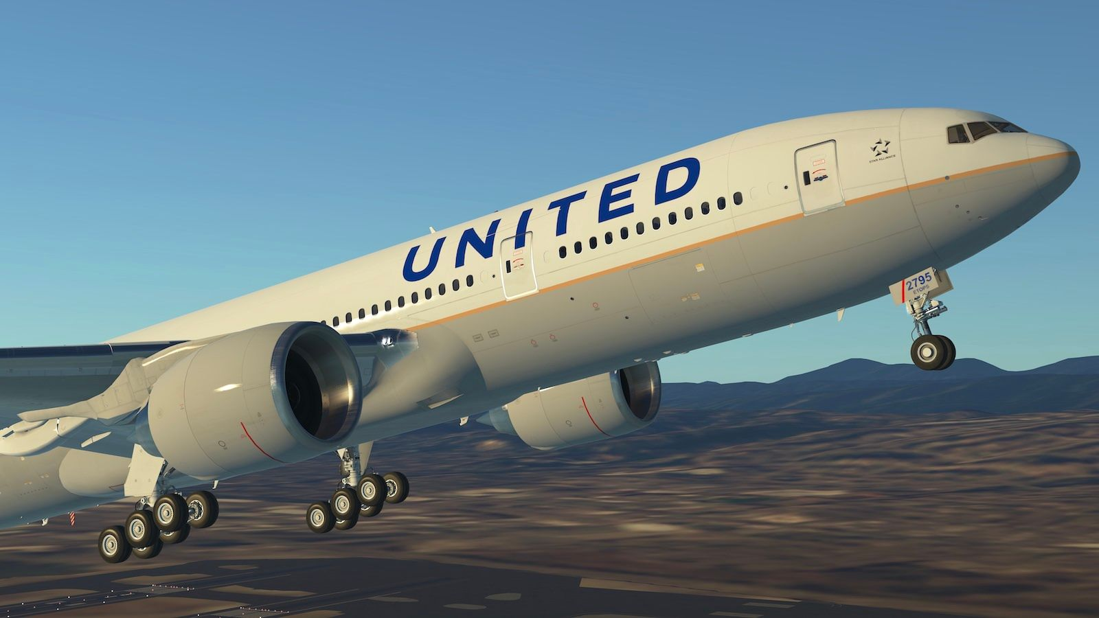 Screenshot of a United B772 blasting off en route to Guam in Infinite Flight