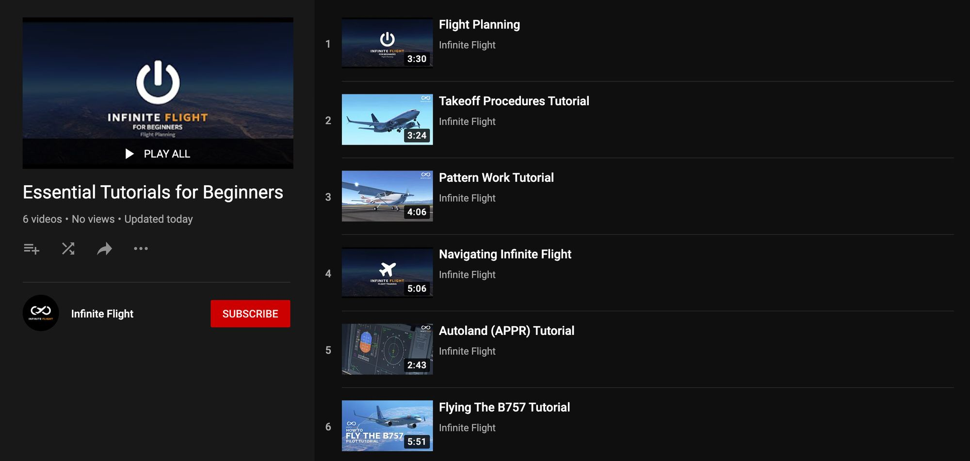 A screenshot showing Infinite Flight's Essential Tutorials for Beginners playlist on YouTube